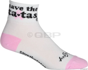 SockGuy Classics Socks Save the TaTas White SockGuy Save the TaTas S/M White