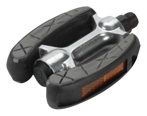 Dimension Curved Cruiser Pedal with Grip and Reflectors Dimension Curved Cruiser Pedal with Grip and Reflectors
