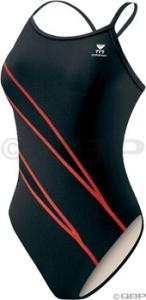 TYR Lightning Splice Diamondback Swimsuit Black/Red TYR Alliance Poly Lightening Black/Red Size 28
