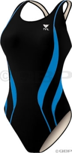 TYR Alliance Team Splice Maxback Swimsuit Black/Blue TYR Alliance Maxback Swimsuit Black/Blue Size 32