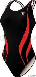 TYR Alliance Team Splice Maxback Swimsuit Black/Red TYR Alliance Maxback Swimsuit Black/Red Size 32