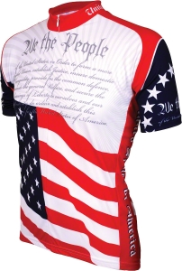 World Jerseys U.S. Constitution Cycling Jersey: Red/White/Blue - MD