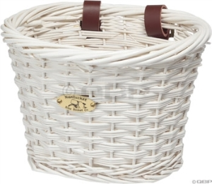Nantucket Cliff Road Kids Oval Basket: White